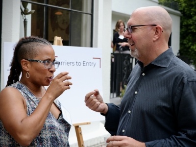 Karyn Smith-Forge (SVP; Berlanti Productions) and Marc Guggenheim (AWD Advisory Board/Showrunner) at our 2019  Friends of AWD Summer Event