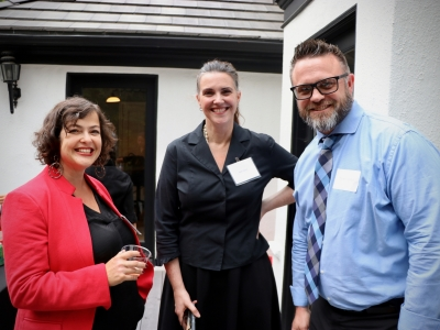 Melissa Silverstein (ACLU), Kim Furst (AWD Board), and Tom Vice (FotoKem) at our 2019  Friends of AWD Summer Event