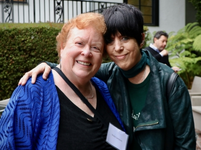 Vickie Sampson (AWD Board) and Diane Warren at our 2019  Friends of AWD Summer Event